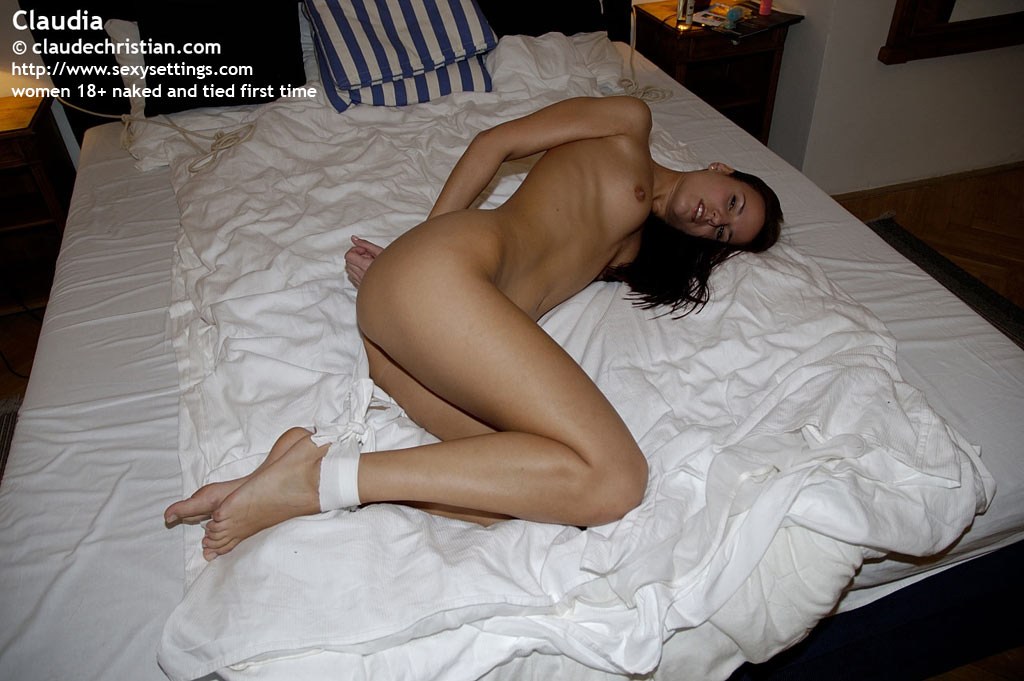 Naked babes tied to bed and fucked pics are
