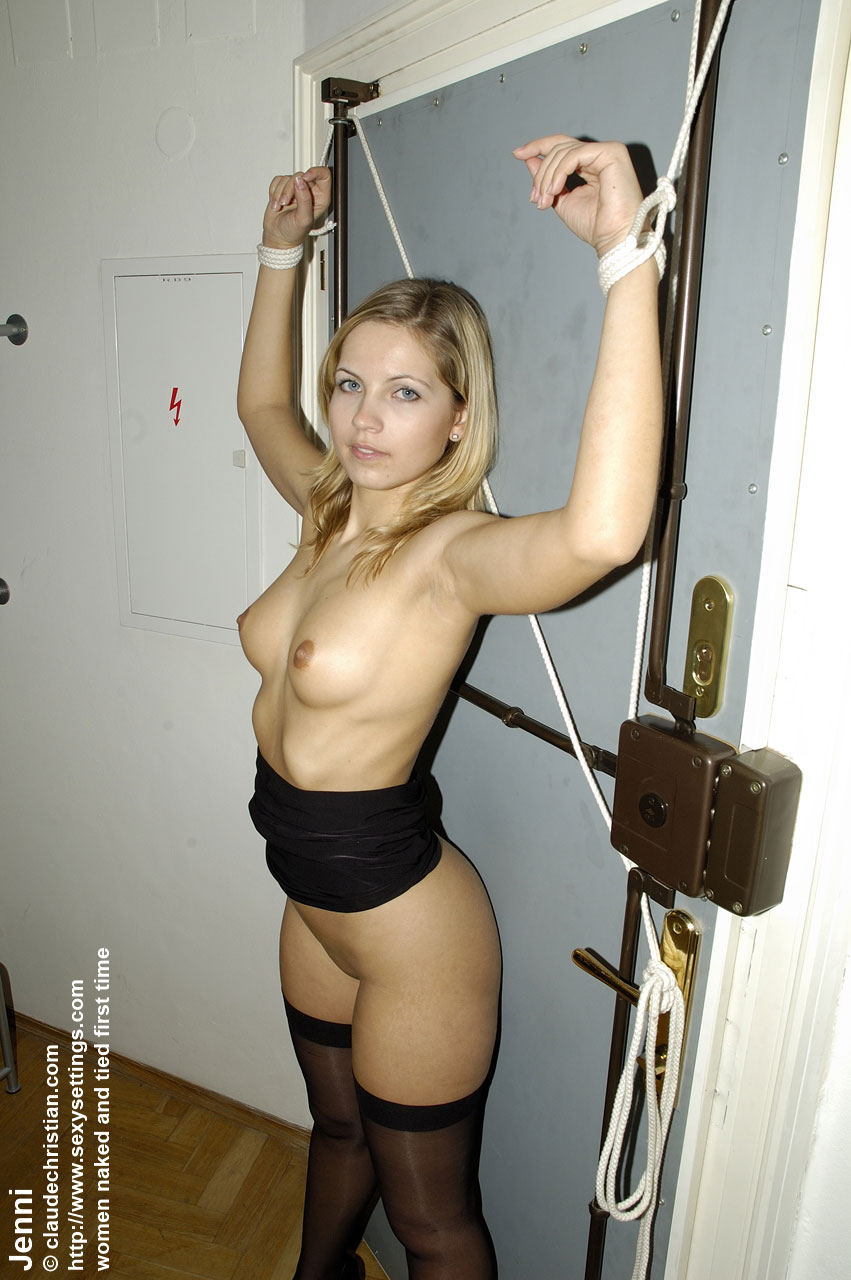 Naked girl tied