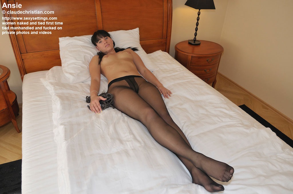 Fucked tied in pantyhose and