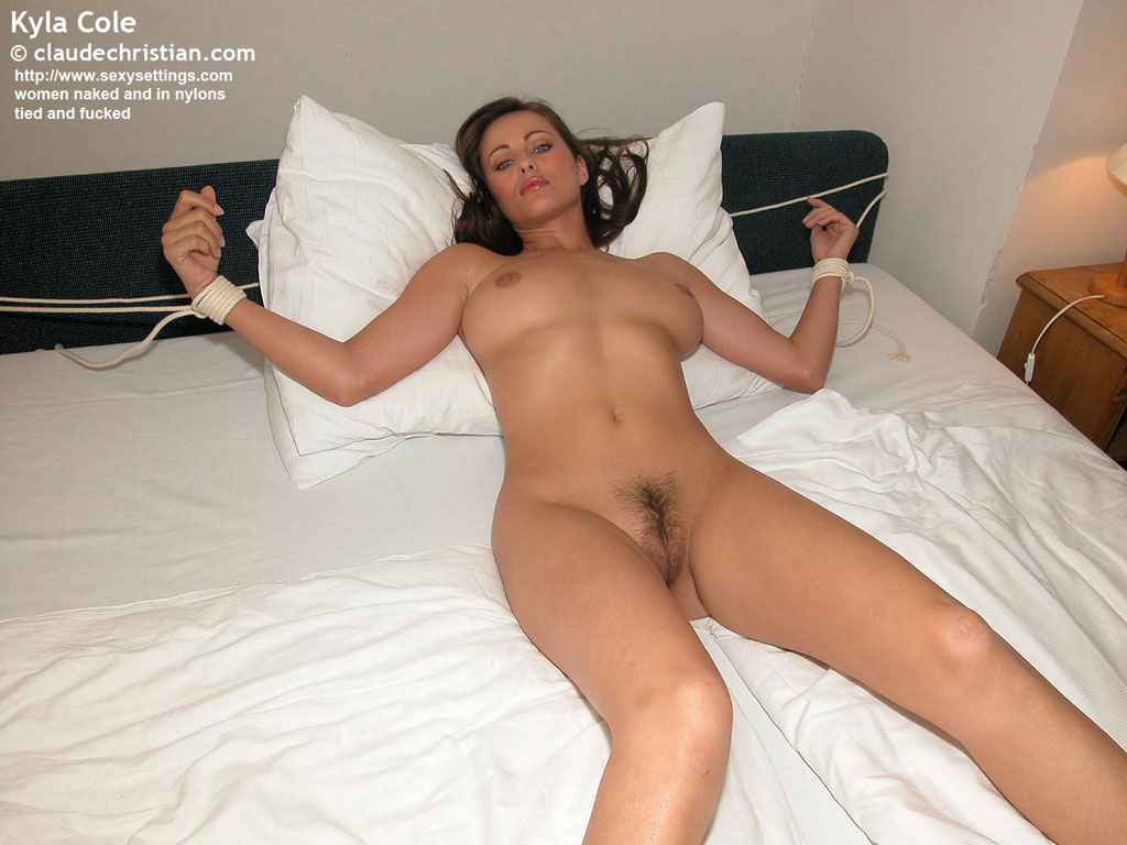 Quite Naked babes tied to bed and fucked pics