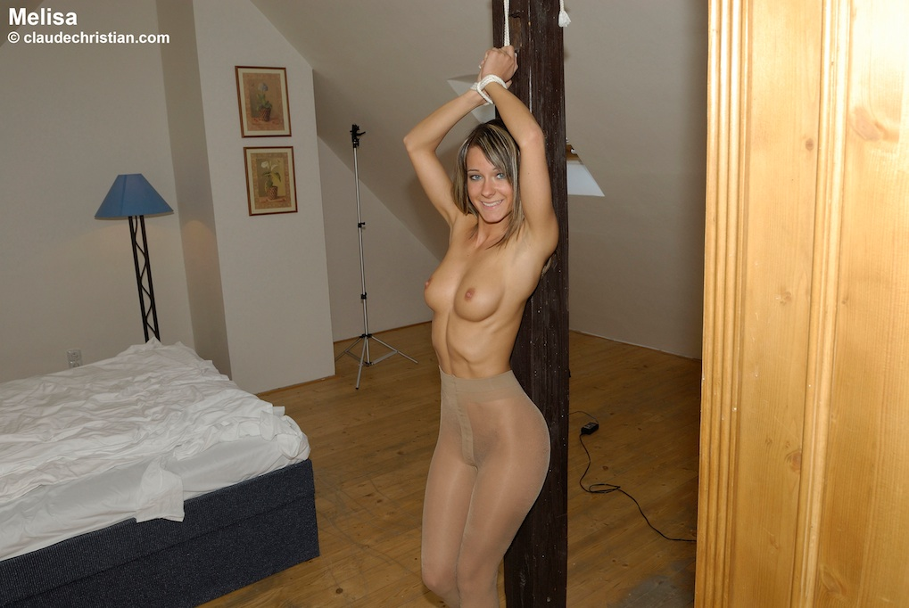 Quite modest bondage in tied up woman