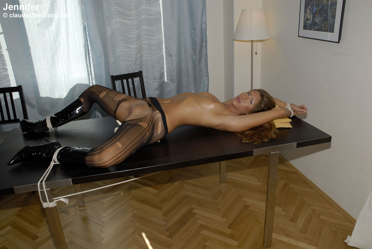 Slutload pantyhose tied to a table